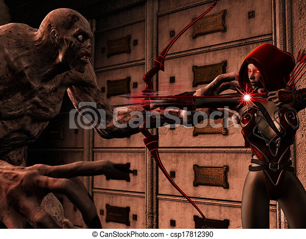 attackig, zombie, duende - csp17812390