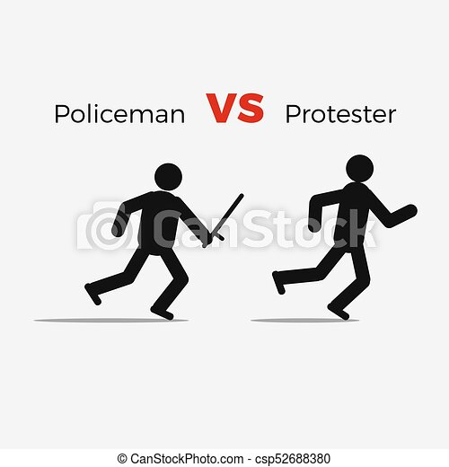 attaque, civil, fâché, policier, homme - csp52688380