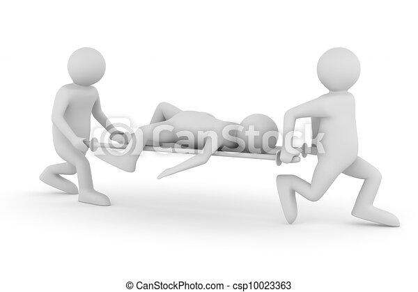 Azafatas de hospital, paciente de transferencia en camilla. Imagen 3D aislada - csp10023363