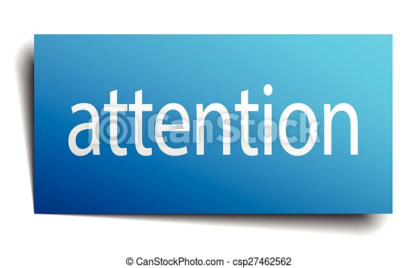 attention blue square isolated paper sign on white - csp27462562