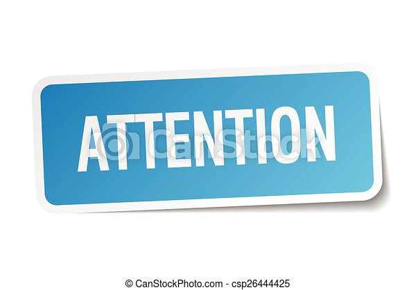 attention blue square sticker isolated on white - csp26444425
