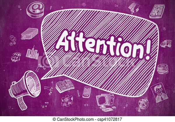 Attention - Cartoon Illustration on Purple Chalkboard. - csp41072817