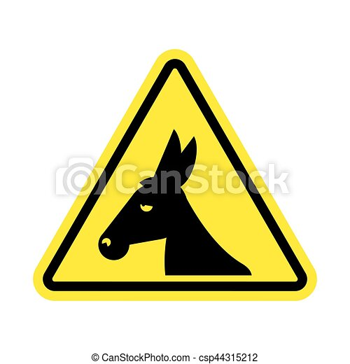 attention donkey driving jackass on yellow triangle road vector rh canstockphoto com