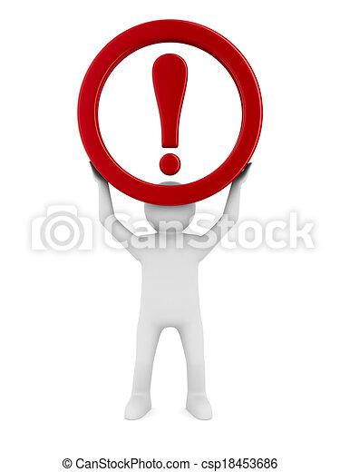 attention., image, isolé, signe, arrière-plan., trafic, blanc, 3d - csp18453686