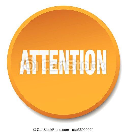 attention orange round flat isolated push button - csp36020024