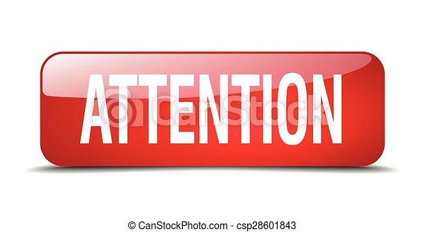 attention red square 3d realistic isolated web button - csp28601843