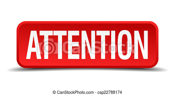 Attention red three-dimensional square button isolated on white background - csp22788174