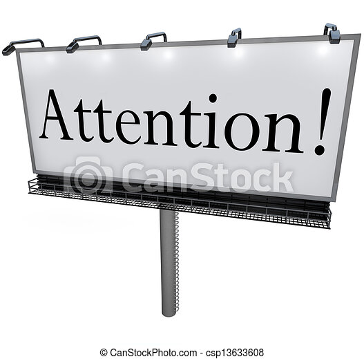 Attention Word on Billboard Special Announcement Urgent Message - csp13633608