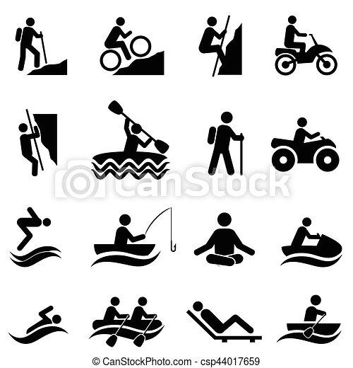 attività, ricreativo, ozio, icone - csp44017659