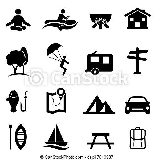 attività, ricreazione, ozio, icone - csp47610337