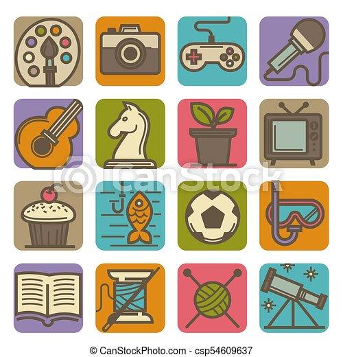 attività, set, icone, ozio, luminoso, tempo, hobby - csp54609637