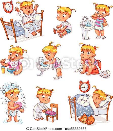 attività, set, routine quotidiana, cartone animato, capretto - csp53332655