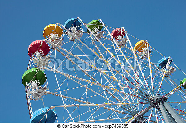 """Attraction """"Ferris Wheel"""" on a background of blue sky - csp7469585"""