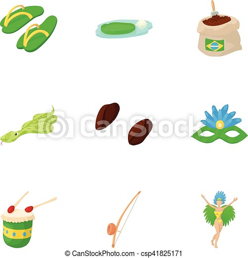 Attractions of Brazil icons set, cartoon style - csp41825171