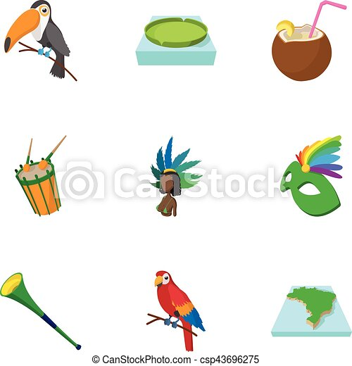 Attractions of Brazil icons set, cartoon style - csp43696275