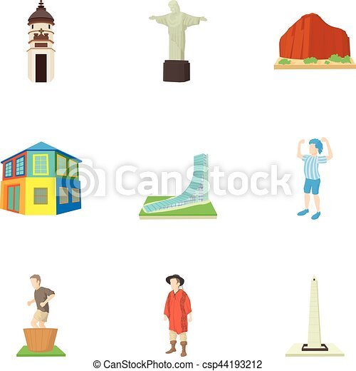 Attractions of Brazil icons set, cartoon style - csp44193212