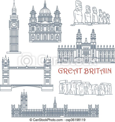Attractions of Great Britain and Chile linear icon - csp36198119