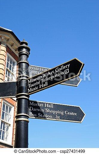 Attractions signpost, Shrewsbury. - csp27431499