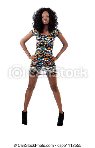 Attractive African American   Arms Akimbo Dress - csp51112555