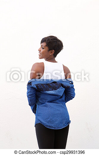 Attractive african american woman from behind - csp29931396