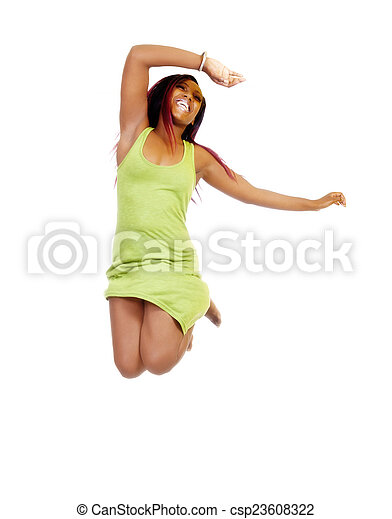Attractive African American Woman Green Dress Jumping - csp23608322