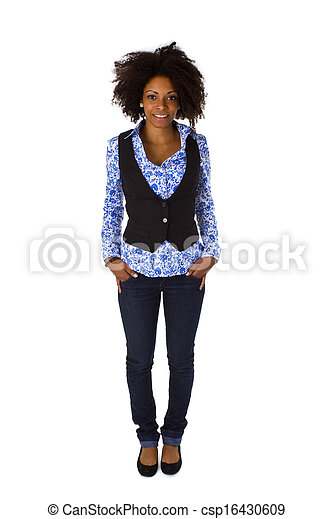 Attractive african american woman posing - csp16430609