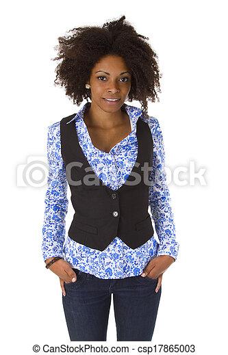 Attractive african american woman posing - csp17865003