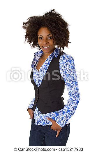 Attractive african american woman posing - csp15217933