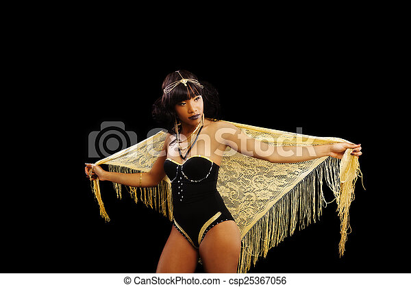 Attractive African American Woman Standing Leotard Shawl - csp25367056