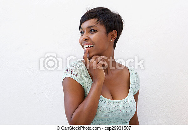 Attractive african american woman with cool hairstyle - csp29931507