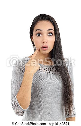 Attractive arab woman gesturing oops - csp16143571