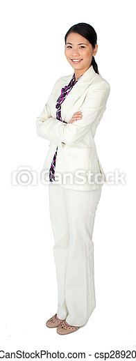 Attractive asian businesswoman standing with folded arms - csp2892061
