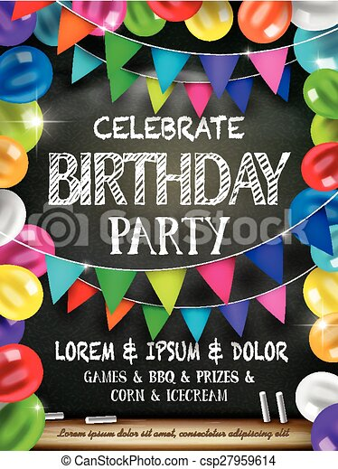 attractive birthday celebration party poster with colorful balloons