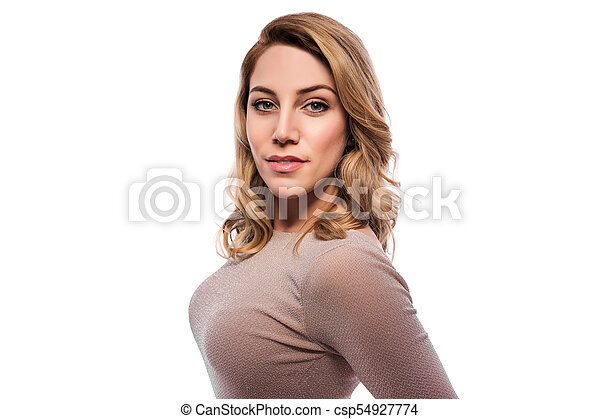 Attractive blond young woman. Portrait of a beautiful woman on a white background. - csp54927774