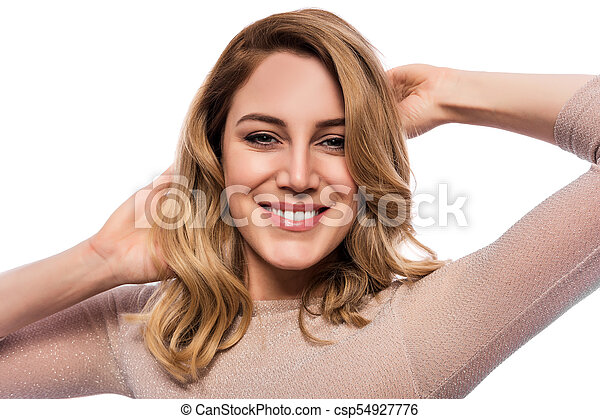Attractive blond young woman. Portrait of a beautiful woman on a white background. - csp54927776