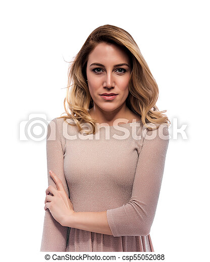 Attractive blond young woman. Portrait of a beautiful woman on a white background. - csp55052088
