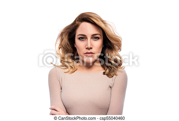 Attractive blond young woman. Portrait of a beautiful woman on a white background. - csp55040460