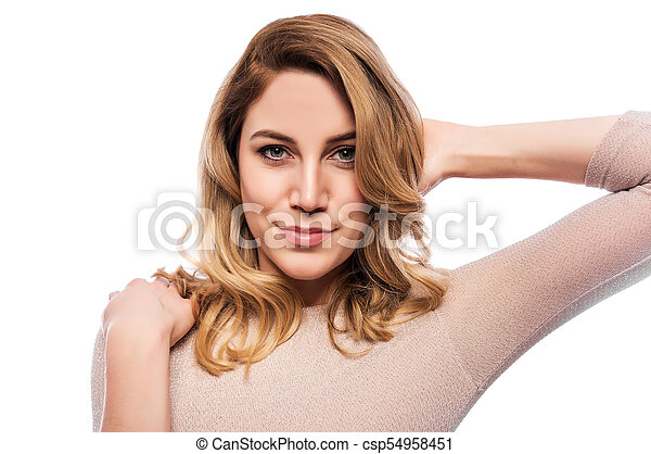 Attractive blond young woman. Portrait of a beautiful woman on a white background. - csp54958451