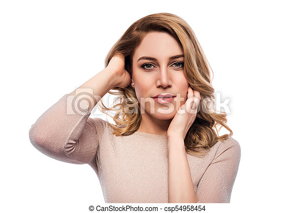 Attractive blond young woman. Portrait of a beautiful woman on a white background. - csp54958454