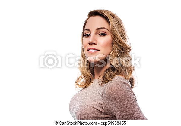 Attractive blond young woman. Portrait of a beautiful woman on a white background. - csp54958455