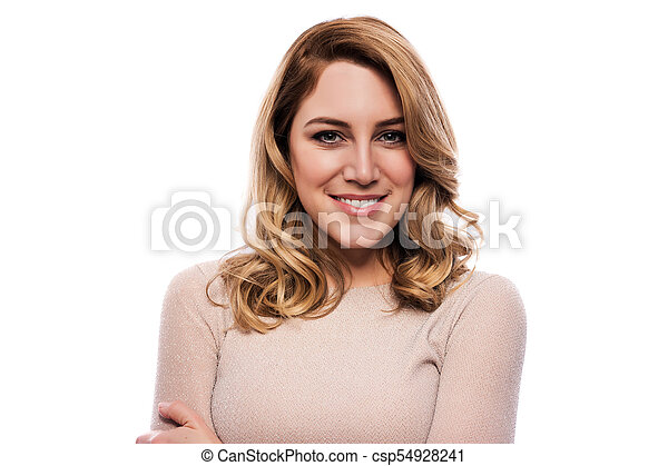 Attractive blond young woman. Portrait of a beautiful woman on a white background. - csp54928241