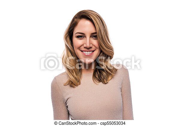 Attractive blond young woman. Portrait of a beautiful woman on a white background. - csp55053034