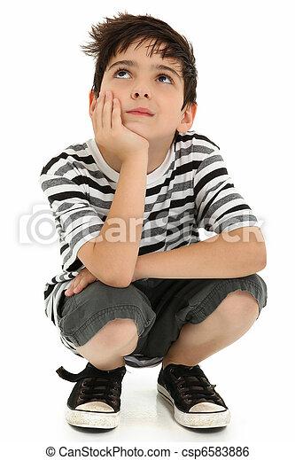 Attractive Boy Child Thinking - csp6583886