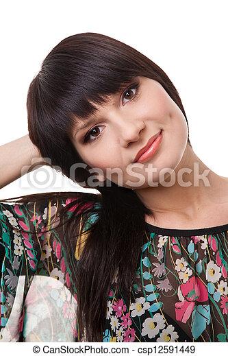 Attractive brunette woman - csp12591449
