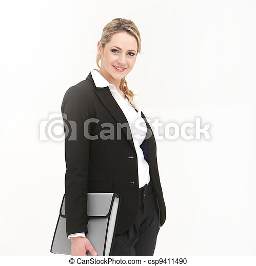 Attractive business woman on white background - csp9411490