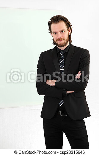 Attractive businessman in suit and  - csp23315646