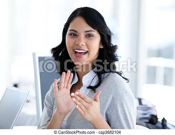 Attractive businesswoman applauding - csp3682104