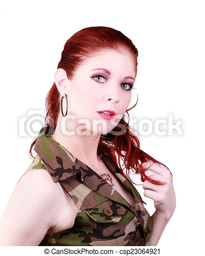 Attractive Caucasian Red Head Woman Camouflage Top - csp23064921