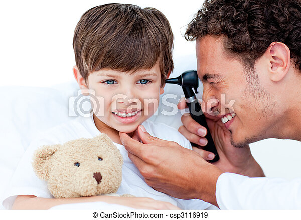 Attractive doctor examining patient\'s ears - csp3116919
