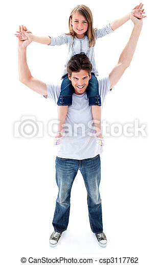Attractive father giving his daughter piggyback ride - csp3117762